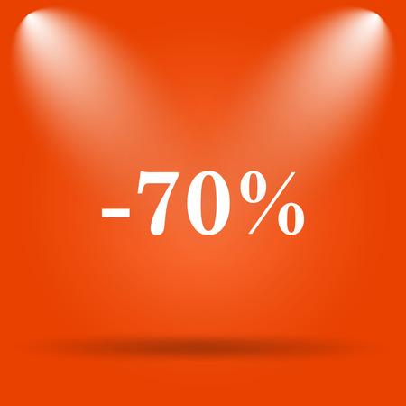 70: 70 percent discount icon. Internet button on orange background.