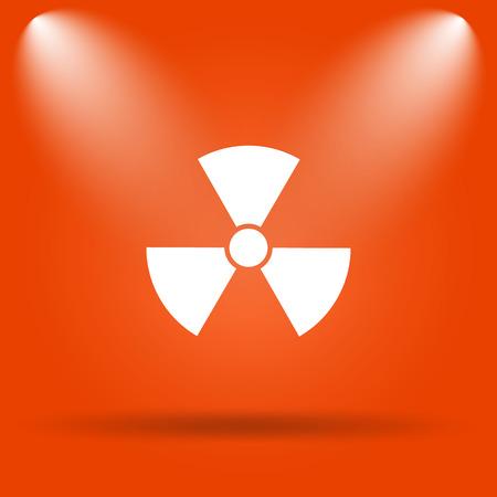 nuke: Radiation icon. Internet button on orange background.