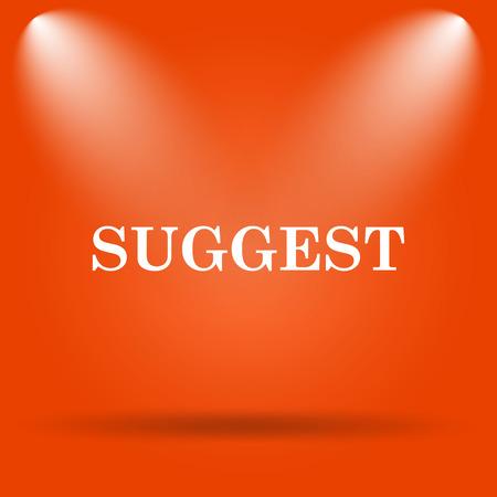 suggest: Suggest icon. Internet button on orange background.