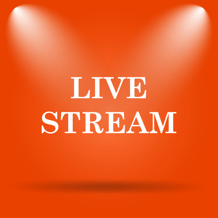 news cast: Live stream icon. Internet button on orange background. Stock Photo