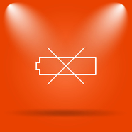 Empty battery icon. Internet button on orange background. Stock Photo