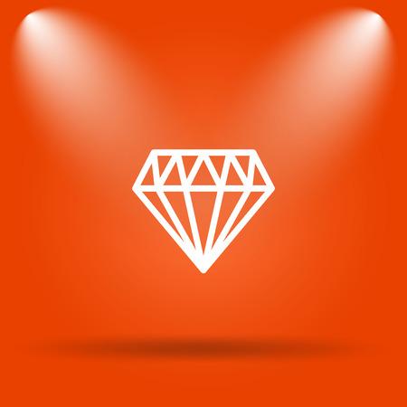diamond background: Diamond icon. Internet button on orange background. Stock Photo