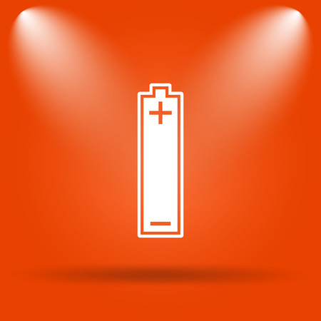 button batteries: Battery icon. Internet button on orange background.