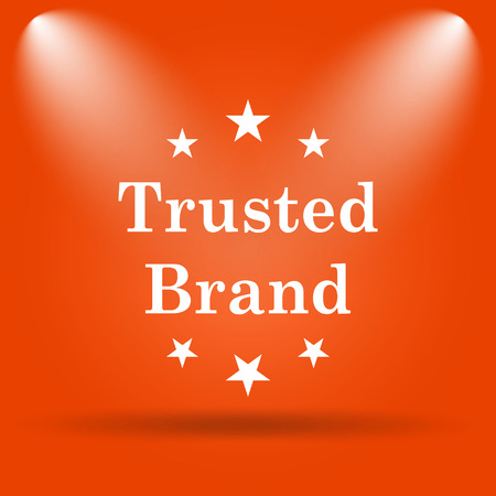 trusted: Trusted brand icon. Internet button on orange background. Stock Photo