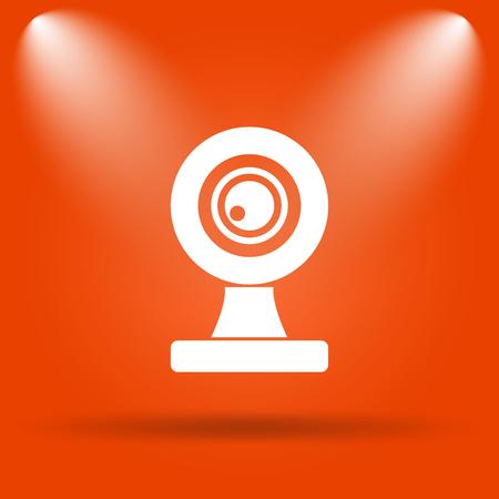 webcam: Webcam icon. Internet button on orange background.