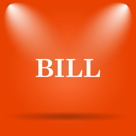 accounts payable: Bill icon. Internet button on orange background. Stock Photo