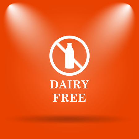 intolerant: Dairy free icon. Internet button on orange background.