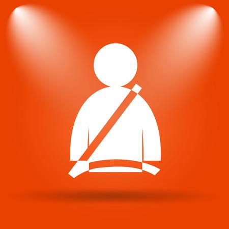 safety belt: Safety belt icon. Internet button on orange background.