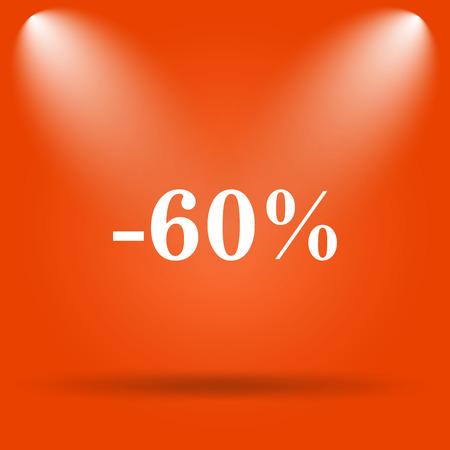 60: 60 percent discount icon. Internet button on orange background. Stock Photo