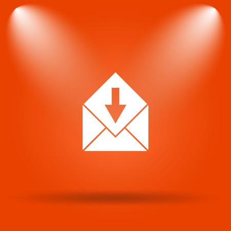 Receive e-mail icon. Internet button on orange background. Stock Photo