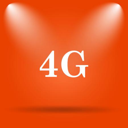 4g: 4G icon. Internet button on orange background.