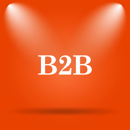 b2b: icono de B2B. botón de internet sobre fondo naranja.