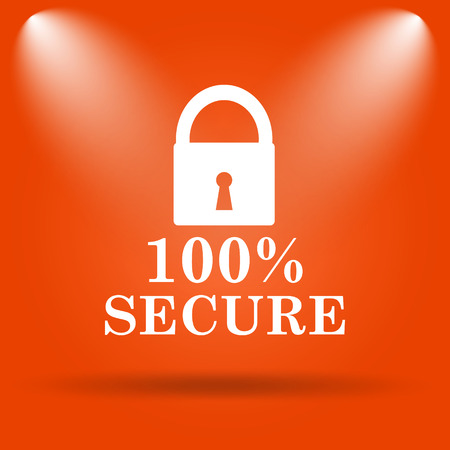 100 percent secure icon. Internet button on orange background. Stock Photo