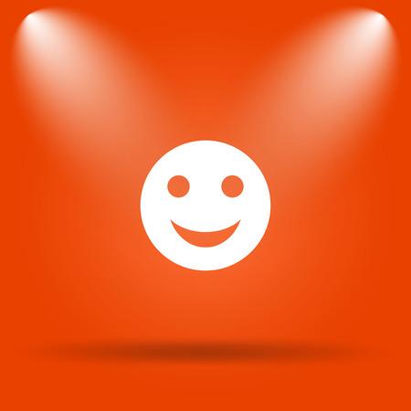 smily face: Smiley icon. Internet button on orange background.