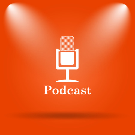 Podcast icon. Internet button on orange background.