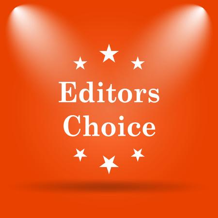 editors: Editors choice icon. Internet button on orange background.