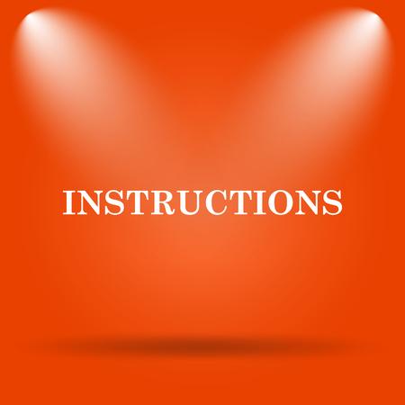 hints: Instructions icon. Internet button on orange background. Stock Photo