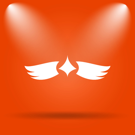 chastity: Wings icon. Internet button on orange background. Stock Photo