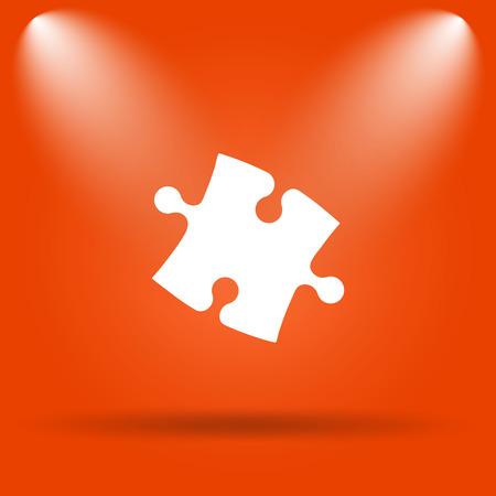puzzle background: Puzzle piece icon. Internet button on orange background. Stock Photo