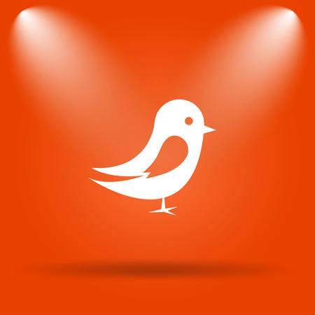 chirp: Bird icon. Internet button on orange background.
