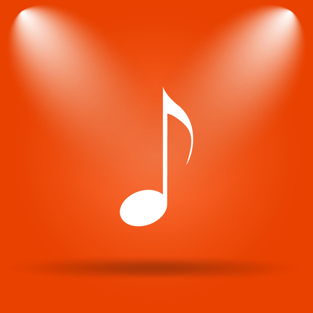 melodic: Musical note icon. Internet button on orange background.