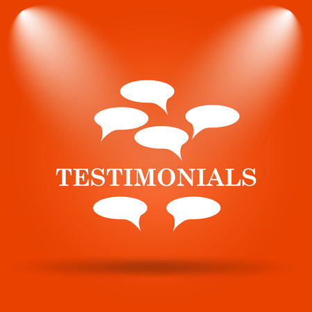 certificated: Testimonials icon. Internet button on orange background.