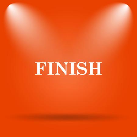 abort: Finish icon. Internet button on orange background.
