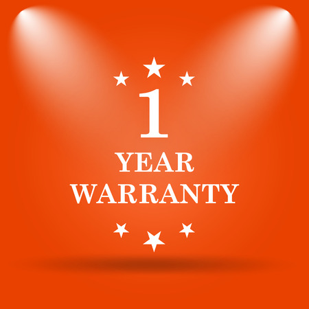 1 year warranty: 1 year warranty icon. Internet button on orange background.