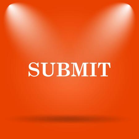 submit button: Submit icon. Internet button on orange background.