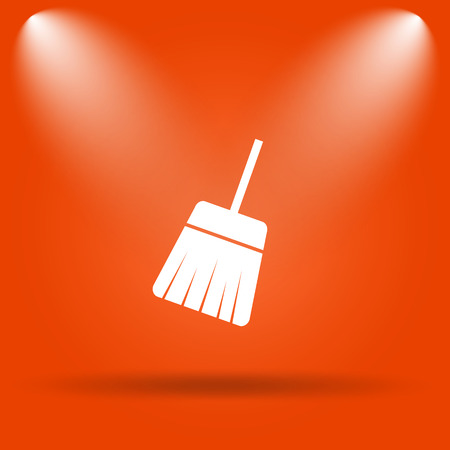 sweep: Sweep icon. Internet button on orange background.