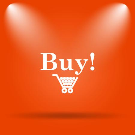 buy icon: Buy icon. Internet button on orange background.