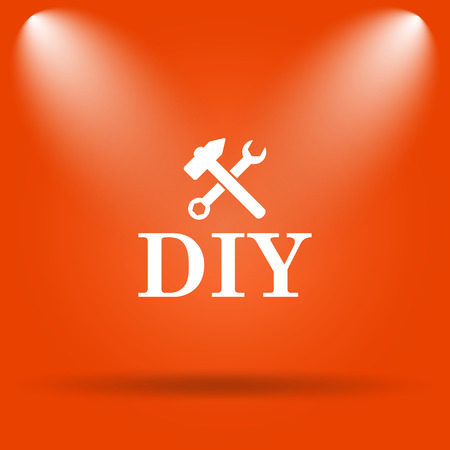 diy: DIY icon. Internet button on orange background. Stock Photo