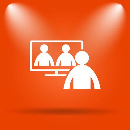 human resource affairs: Video conference, online meeting icon. Internet button on orange background. Stock Photo