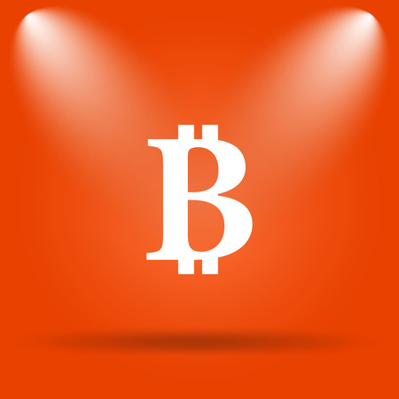 p2p: Bitcoin icon. Internet button on orange background.
