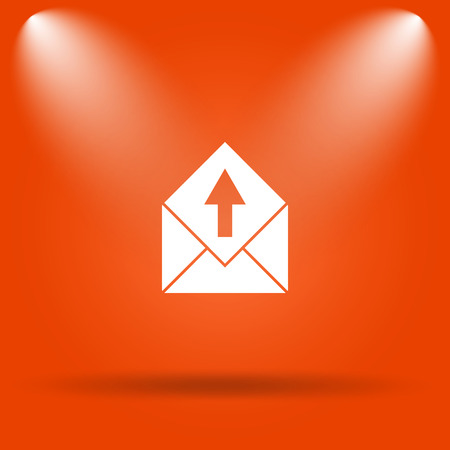 send email: Send e-mail icon. Internet button on orange background.