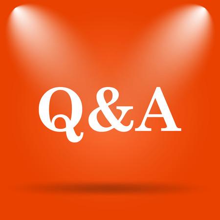 qa: Q&A icon. Internet button on orange background. Stock Photo