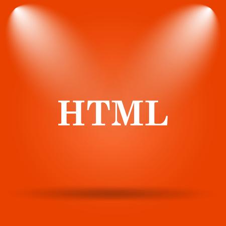 html5: HTML icon. Internet button on orange background.