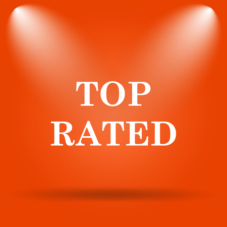 rated: Top rated  icon. Internet button on orange background. Stock Photo