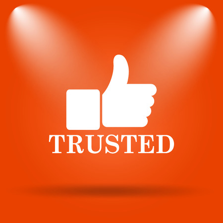 trusted: Trusted icon. Internet button on orange background. Stock Photo