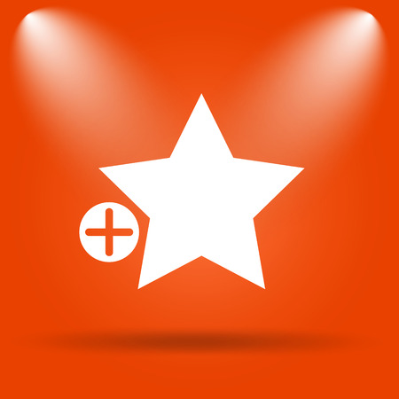favorites: Add to favorites icon. Internet button on orange background. Stock Photo