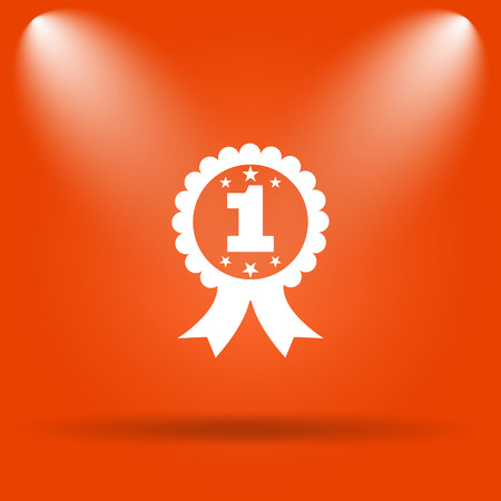 the first prize: First prize ribbon icon. Internet button on orange background.