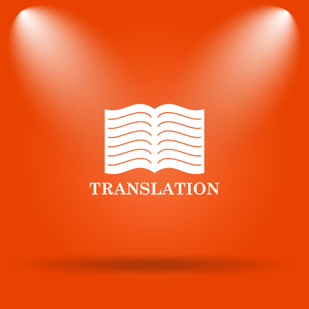 translation: Translation book icon. Internet button on orange background. Stock Photo