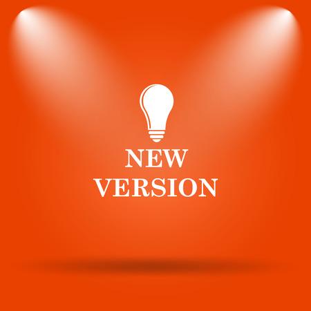 version: New version icon. Internet button on orange background. Stock Photo