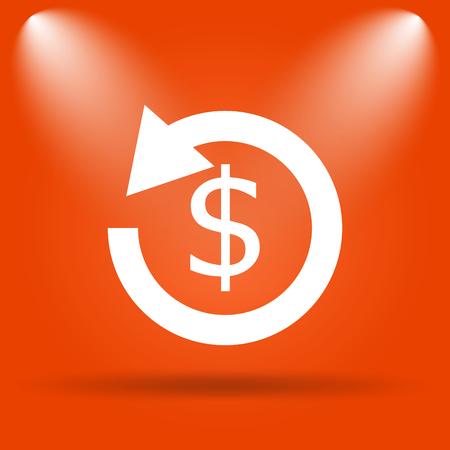 restitution: Refund icon. Internet button on orange background.