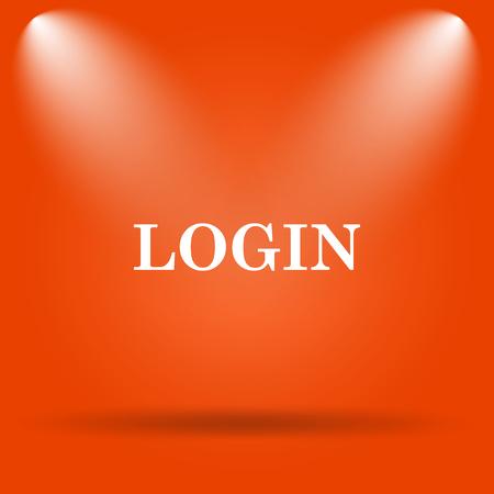 login icon: Login icon. Internet button on orange background. Stock Photo