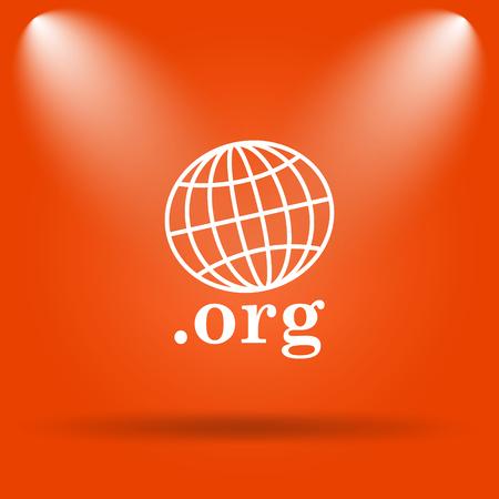 org: .org icon. Internet button on orange background. Stock Photo