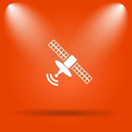 world receiver: Antenna icon. Internet button on orange background. Stock Photo