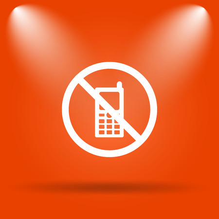 restricted: Mobile phone restricted icon. Internet button on orange background.