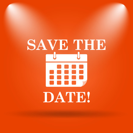 event planner: Save the date icon. Internet button on orange background.