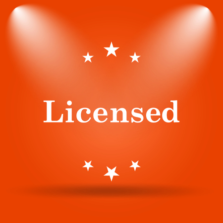 licensed: Licensed icon. Internet button on orange background.